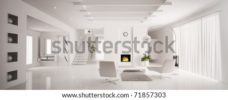 Interior of white apartment with fireplace and staircase 3d render - stock photo