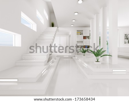 Interior of white entrance hall with staircase 3d render - stock photo