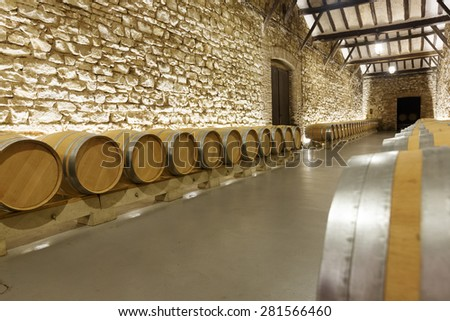 Interior of  winery with many  barrels - stock photo