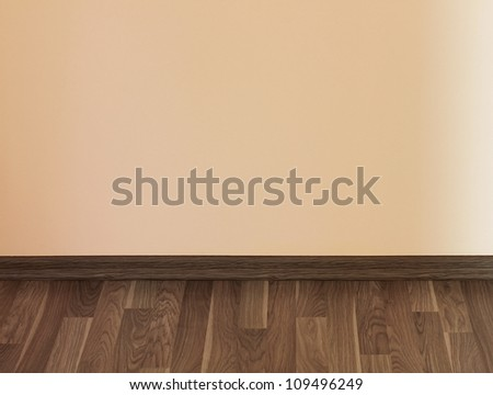 Interior of wooden floor and light wall
