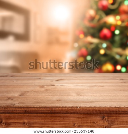 interior of xmas tree and desk top of brown  - stock photo