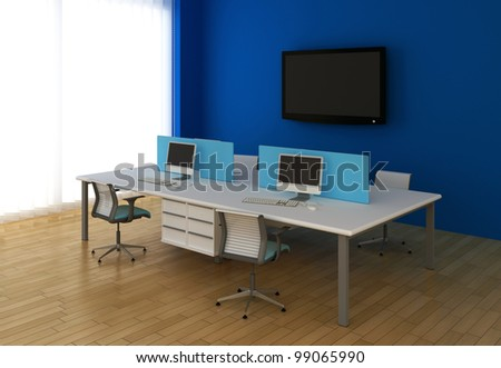 Interior office with system office desks and TV.