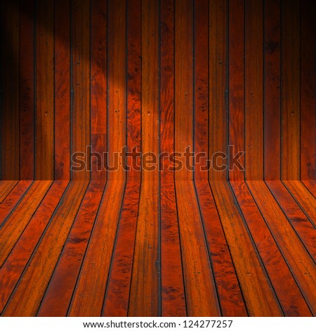 Interior Old Wood Room / Wooden brown planks interior with illuminated