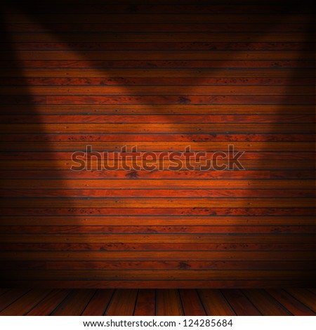 Interior Old Wood Room / Wooden brown planks interior with illuminated - stock photo