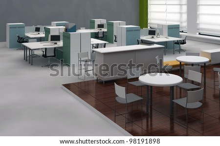 Interior open space office with system office desks and lounge area