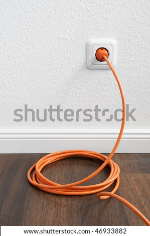 Interior outlet with cable plugged in