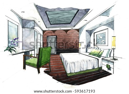 interior design drawings perspective. Interesting Design Interior Perspective Sketch Design Watercolor Sketching Idea On White  Paper Background And Design Drawings