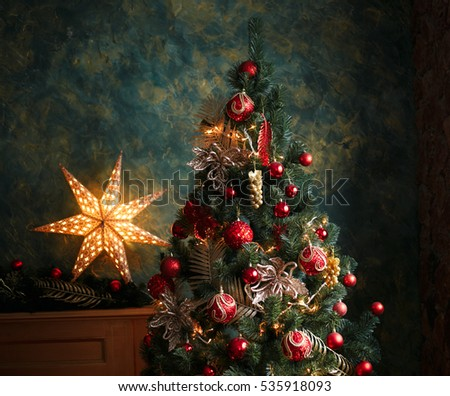 Vintage christmas tree stock images royalty free images for Red and yellow christmas tree