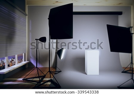 Interior photo studio at night with a white pedestal 3D Render - stock photo