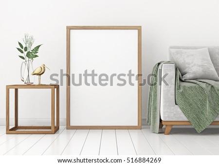 Interior Poster Mockup Empty Wooden Frame Stock Illustration ...