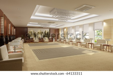 interior room for meetings 3d render - stock photo
