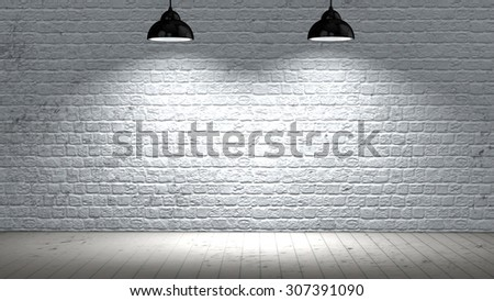 interior room with brick wall and wooden floor and two spotlights