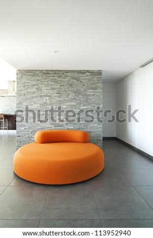 Interior, room with comfortable armchair orange - stock photo