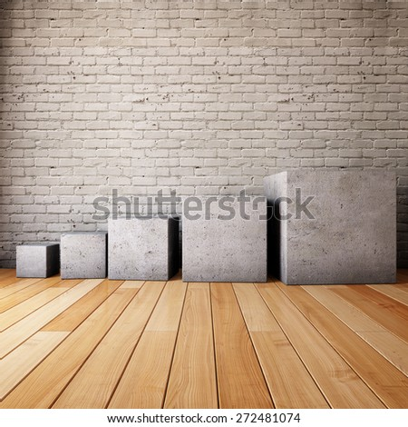 Interior room with concrete cubes in the form of steps - stock photo