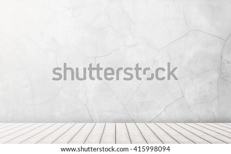 interior room with Dirty white concrete or cement with wooden floor. perspective wood plank white color floor with concrete or cement wall in white tone texture background for interiors design. - stock photo