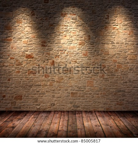 interior room with 3 spots - stock photo