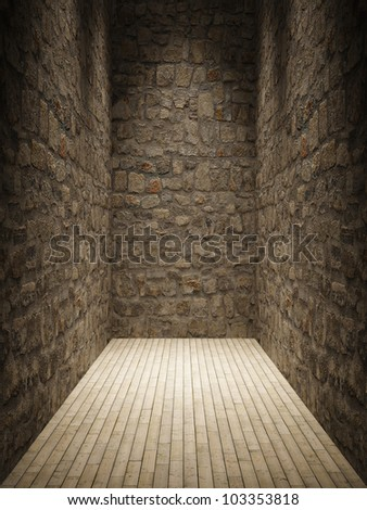 Interior room with stone wall and wooden floor - stock photo