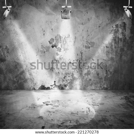 interior room with wall and three light spots  - stock photo
