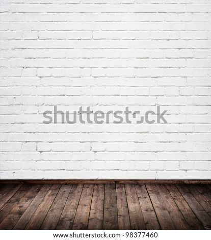 interior room with white brick wall - stock photo