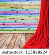 interior room with wooden floors and walls of the closed red curtain - stock photo