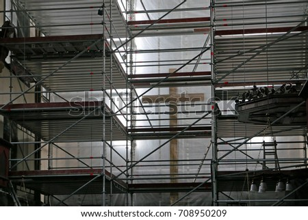 Interior Scaffolding Church Being Renovated Stock Photo 708950209