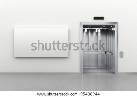Interior scene of an open elevator and a blank billboard - stock photo