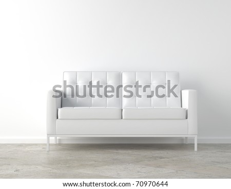 interior scene of white couch on white room with copy space - stock photo