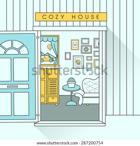 interior scene with sofa in flat line style - stock photo