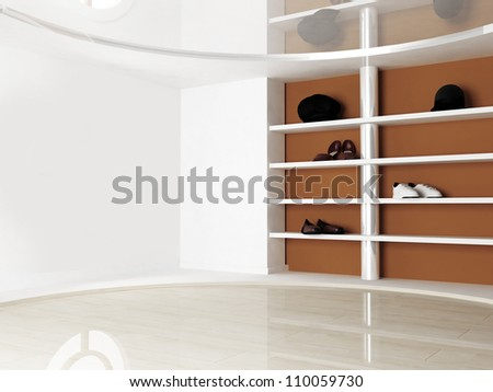 Interior scene with the shelves for shoes and hats - stock photo