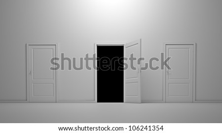 Interior scene with three doors and the middle one open - stock photo