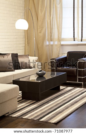 Interior shot of a modern living room - stock photo