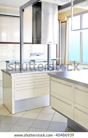 Interior shot of contemporary light style kitchen
