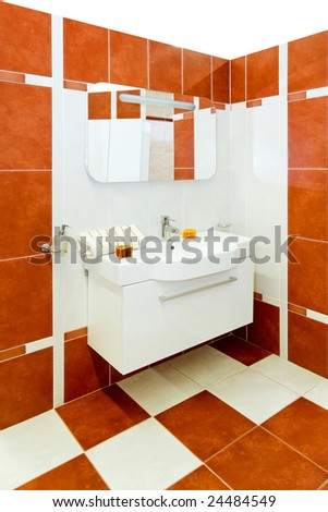Interior shot of modern and stylish bathroom