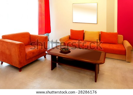 Interior shot of warm red living room