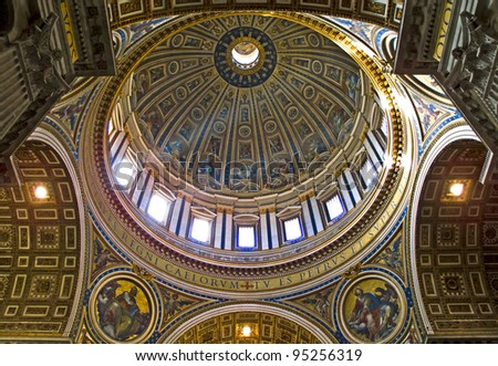 Interior side of the dome of Saint Peter's basilica, Vatican City