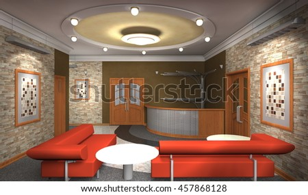 interior, sketch, 3d illustration