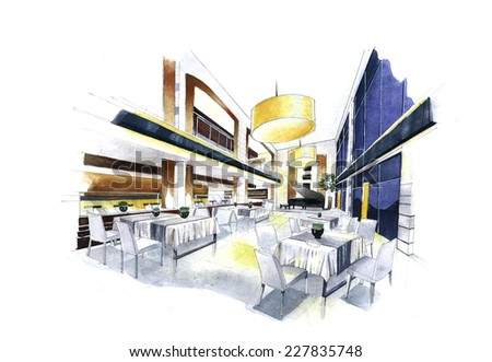 """Interior sketch design of """"Restaurant"""". Watercolor sketching idea on white paper background. - stock photo"""