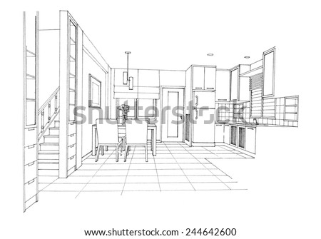 Interior sketch of dinning room - stock photo