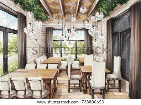 Interior Sketch Of Restaurant In Eco Style Wood Natural Materials Design