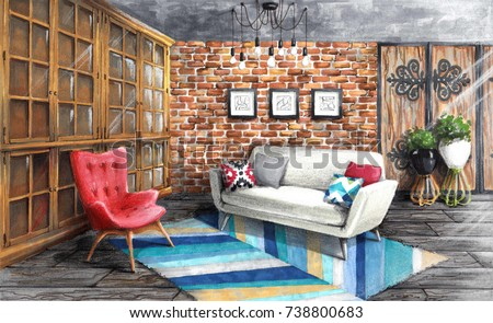 Interior Sketch Stylish Living Room In Loft Style Cozy And Bright Room With  Sofa Armchair And