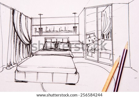 Bedroom sketch stock images royalty free images vectors for Bedroom designs sketch