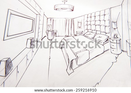 Interior Design Bedroom Sketches sketch of a bedroom stock images, royalty-free images & vectors