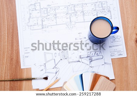 interior sketches, bedroom, living room, kitchen. - stock photo