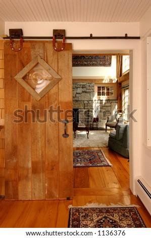 Interior sliding barn door. - stock photo