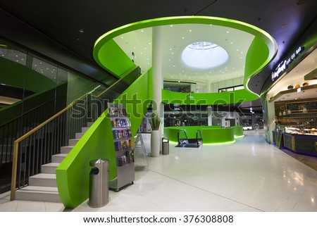 Interior Space of MONA M�¼nchen, Munich, Germany - 31 Jan 2016: It is a shopping mall near the Olympia-Einkaufszentrum U-Bahn Station. - stock photo