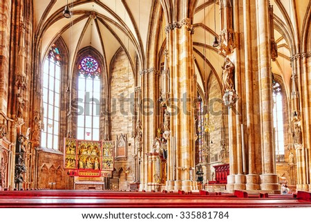Interior St. Stephen's Cathedral(Stephansdom) the mother church of the Roman Catholic Archdiocese of Vienna and the seat of the Archbishop of Vienna.Austria. - stock photo