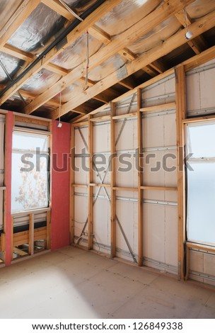 Interior view construction new home. - stock photo