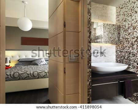 interior view of a bedroom overlooking on the modern bathroom - stock photo