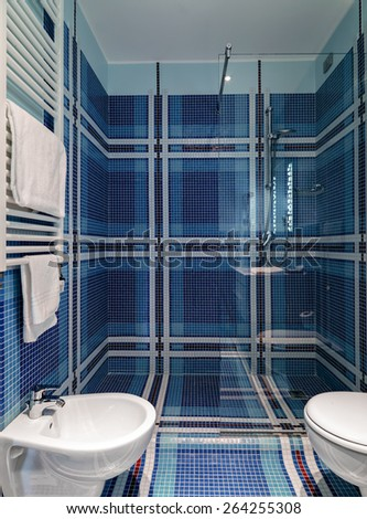 interior view of a modern bathroom, in foreground shower cubicle - stock photo