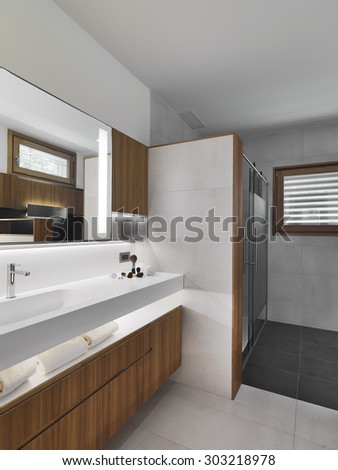 interior view of a modern bathroom in foreground the furniture with tho Vanity basin